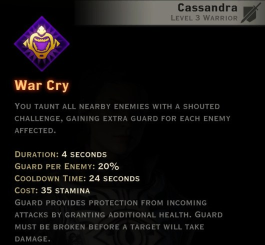 Dragon Age Inquisition - War Cry Vanguard warrior skill