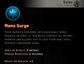 Dragon Age Inquisition - Mana Surge Winter mage skill