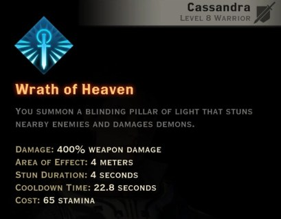Dragon Age Inquisition - Wrath of Heaven Templar warrior skill