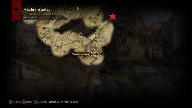 Dragon Age Inquisition - map location of the Sandy Howler dragon in Hissing Wastes