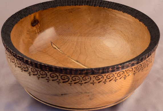 Maple with Pyrography on Rim and Base