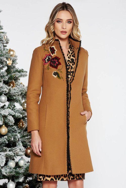 palton dama maro elegant cu broderie