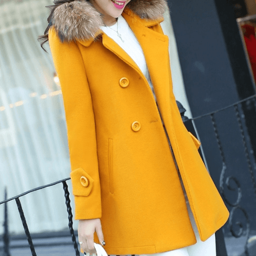 palton dama mustar cu nasturi