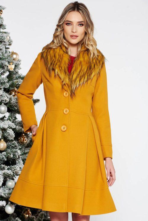 palton dama mustariu elegant in clos