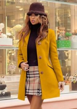 palton dama stofa mustar