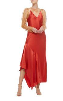 rochie rosie din satin cu bretele