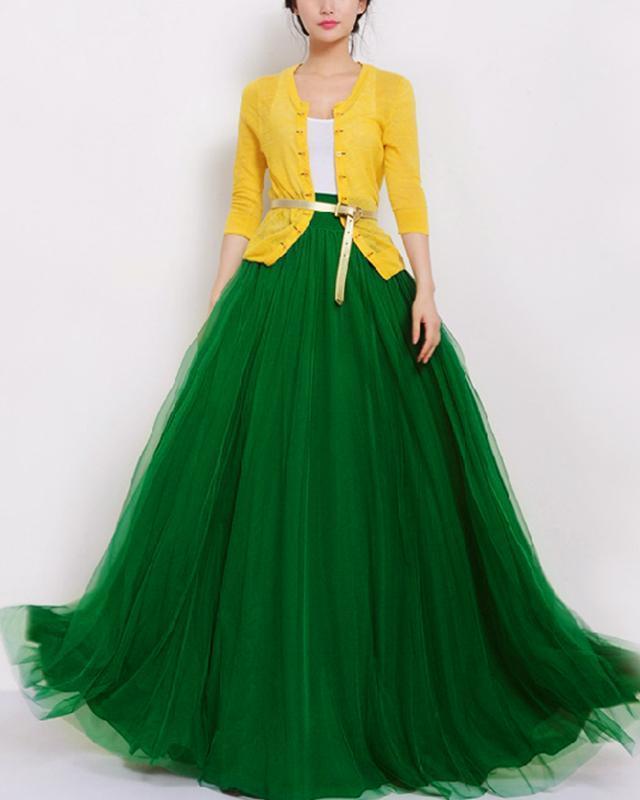 Fustă cu talie înaltă pentru femei, din material de voal transparent, culoare uni, model elegant