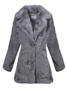 Haina dama din blana artificiala gri tip palton