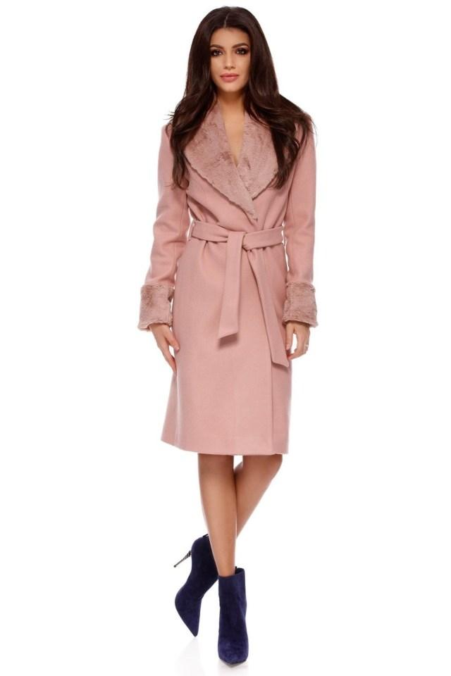 Palton din stofa cu blana roz pudra, cordon si buzunare ascunse Candy