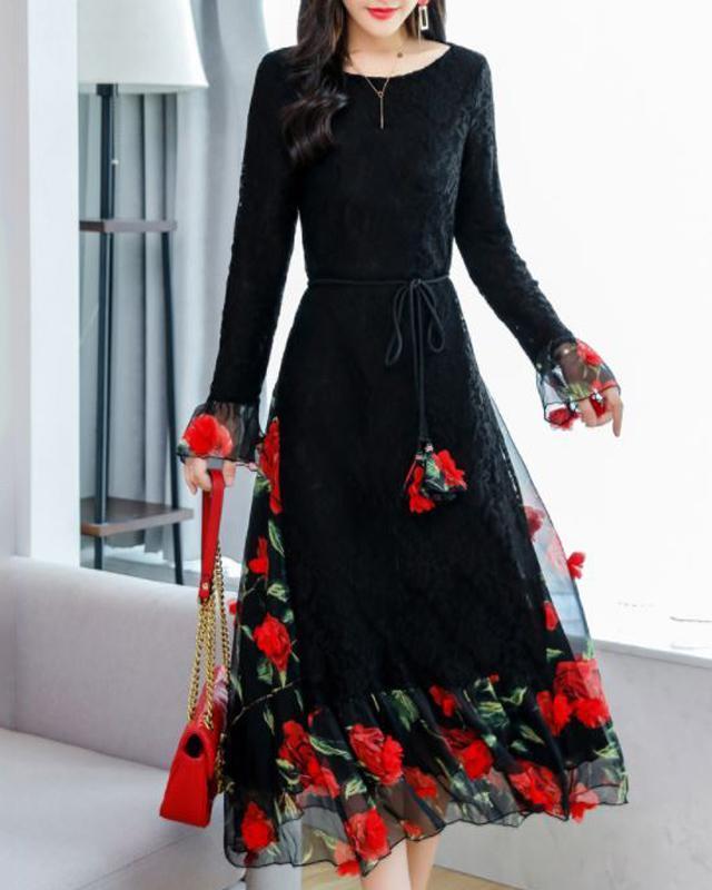 Rochie Ruffle Midi pentru Femei, A-line, din Dantela, cu Maneca cu Cute, model cu Imprimeu Floral Aplicat, Eleganta, de Petrecere •