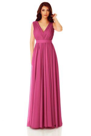 Rochie de seara lunga din voal cu bustul fronsat si aplicatie pretioasa pe cordon.