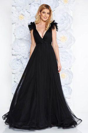 Rochie neagra de lux cu decolteu adanc din tul captusita pe interior cu bust buretat Ana Radu