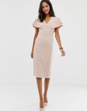 ASOS DESIGN angel sleeve midi pencil dress