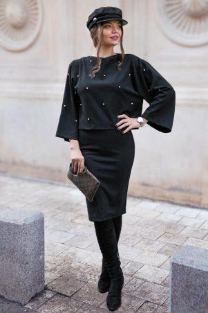 Compleu dama office fusta si bluza cu perlute cusute manual Beth