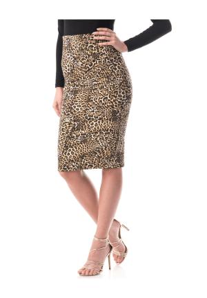 Fusta conica cu imprimeu leopard •