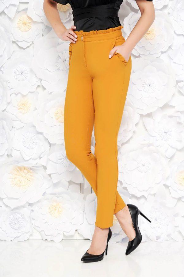 Pantaloni PrettyGirl mustarii eleganti cu talie inalta din stofa usor elastica cu volanase