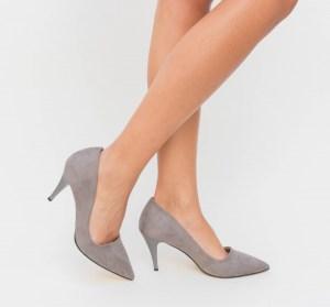 Pantofi din piele eco intoarsa cu toc
