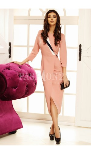 Rochie eleganta de ocazie, roz, petrecuta, cu decolteul rotund