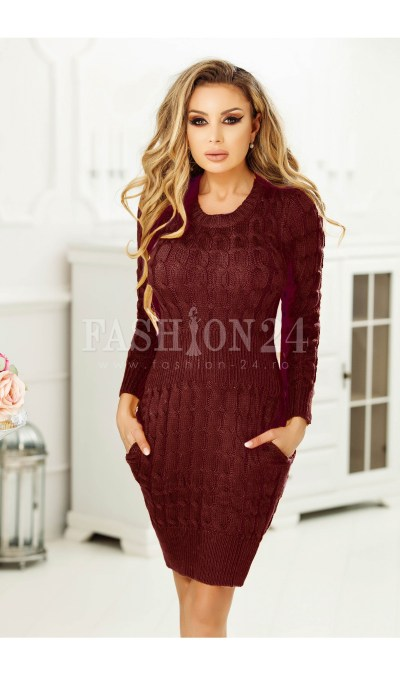 Rochie bordo tricotata cu buzunare
