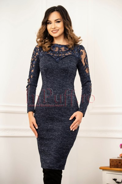 Rochie conica MBG bleumarin cu paiete din tricot