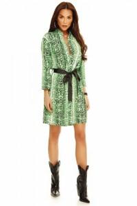 Rochie imprimeu verde sarpe cu cordon in talie