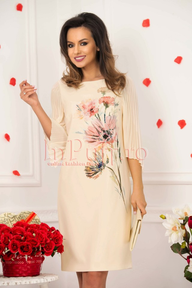 Rochie midi crem cu imprimeu floral si maneci din voal plisat