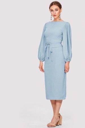 rochie midi cu cordon la talie Yvette