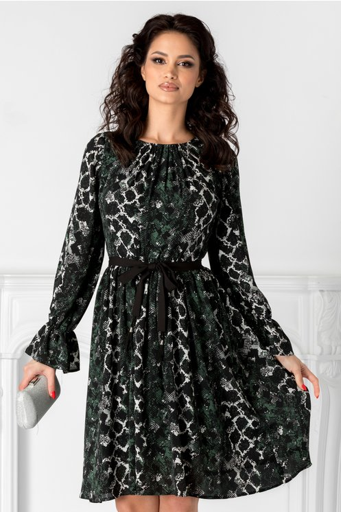 Rochie Moze neagra cu print sarpe