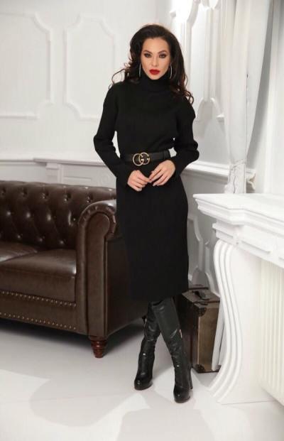 Rochie neagra din tricot cu dungi