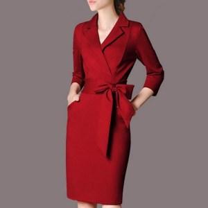 Rochie simplă și elegantă, cu rever și culoare uni