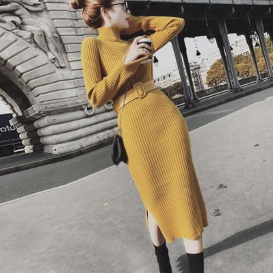 Rochie tricotată pentru femei,culoare naturală, cu guler înalt pentru toamnă și iarnă