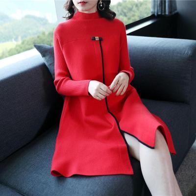 Rochie tricotată pentru femei, în forma literei A, cu guler înalt și mânecă lungă