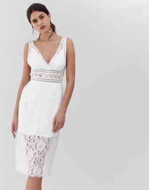 Y.A.S v-neck lace midi dress in white