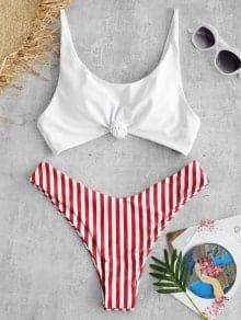 Contrast Striped Knot Bikini Set