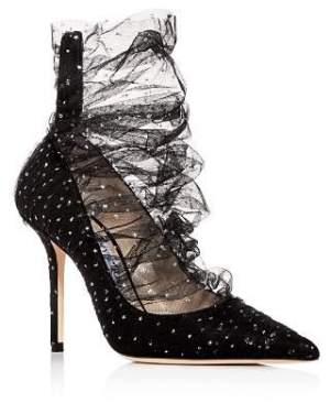 Jimmy Choo Women's Lavish 100 Glitter Tulle Pointed-Toe Pumps