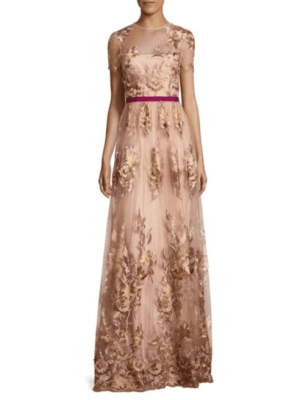 ML Monique Lhuillier ML Monique Lhuillier Women's Floral-Applique Gown