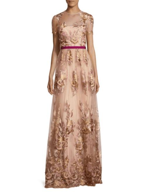 ML Monique Lhuillier ML Monique Lhuillier Women's Floral-Applique Gown