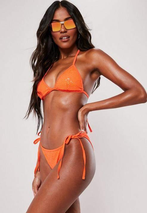 Orange Sequin Tie Side Bikini Bottoms