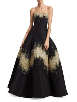 Oscar de la Renta Oscar de la Renta Women's Metallic Sequin Strapless Ball Gown