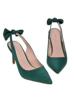 Pantofi Top Secret verde elegant accesorizat cu o fundita cu varful usor ascutit
