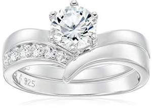 Platinum Plated 925 Sterling Silver AAA Cubic Zirconia Round Solitaire Ring with Chevron Band Bridal Set