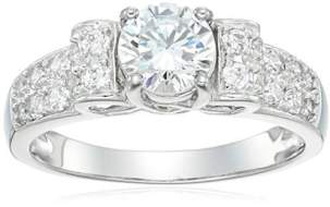 Platinum Plated Sterling Silver Cubic Zirconia 6mm Bow Ring