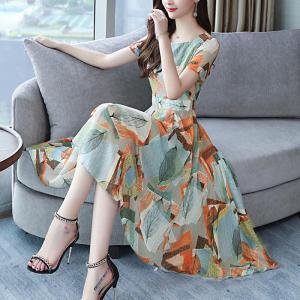 Rochie mărime mare și stil A cu imprimeu elegant din șifon potrivită pentru swing