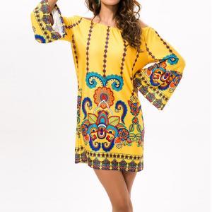 Rochie scurtă pentru femei cu imprimeu pe un singur umăr și mâneci lungi potrivit pentru plajă sau vacanță