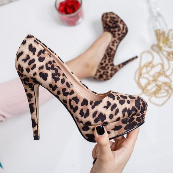 Pantofi Lepami bej leopard
