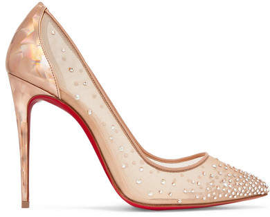 Christian Louboutin - Follies 100 Crystal-embellished Mesh And Metallic Leather Pumps