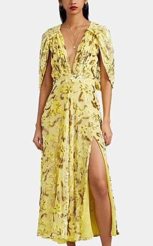 Prabal Gurung Women's Silk-Blend Fil Coupé Dress - Gold