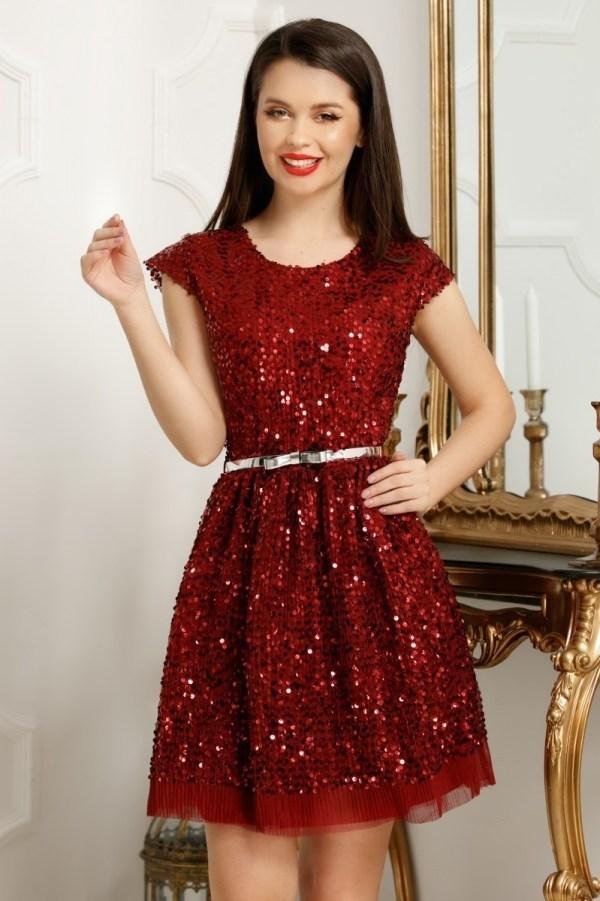 Rochie eleganta cu croi in clos din paiete Rebeca