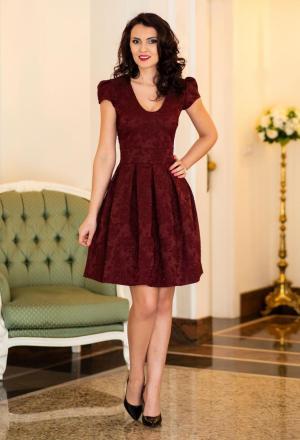 Rochie eleganta de seara cu imprimeu modern Ella Collection On Move Burgundy