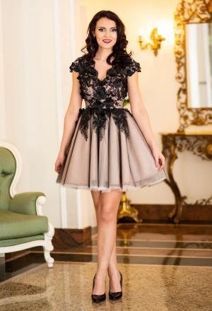Rochie eleganta de seara model cu flori 3D Ella Collection Mesmerize Black
